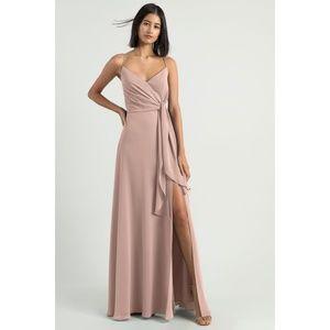 NWT Jenny Yoo Amara Chiffon Tie Slit Dress Gown 12